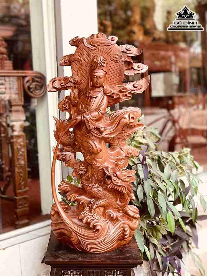 Tượng Phật Bà Quan Âm Đứng Rồng Gỗ Hương