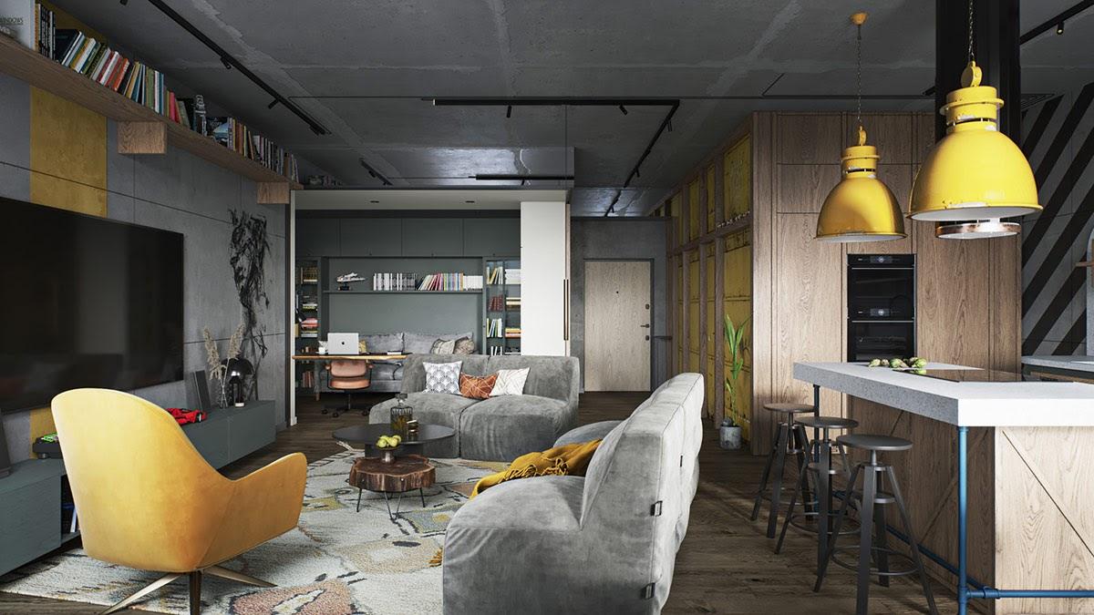 Thiết kế nội thất chung cư 100m2 đẹp hiện đại, cá tính